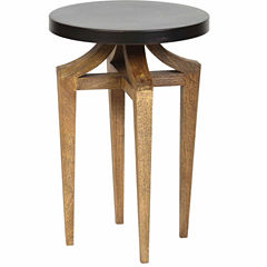 Sandblasted Legs And Metal Top Chairside Table