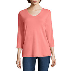 St. John's Bay 3/4 Sleeve V Neck T-Shirt