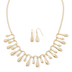 Liz Claiborne® Gold-Tone Fringe Collar Necklace and Earring Set