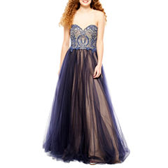 Glamour By Terani Couture Sleeveless Beaded Ball Gown-Juniors