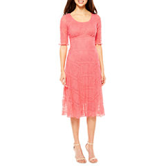 Rabbit Rabbit Rabbit Design Elbow Sleeve Lace Fit & Flare Dress
