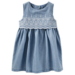 Oshkosh Sleeveless Cap Sleeve Babydoll Dress - Baby Girls
