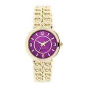Womens Chain-Link-Look Bangle Watch