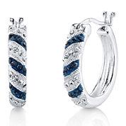Crystal Sophistication™ Blue and Clear Crystal Stripe Hoop Earrings