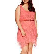 Love Reigns Sleeveless Lace Sharkbite Dress - Juniors Plus