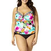 St. John's Bay® Floral Ring-Front Tankini Swim Top or Swim Bottoms - Plus