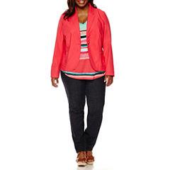 Liz Claiborne® Teaberry Cotton Blazer or Stripe Tank Top or Slim-Leg Jeans - Plus