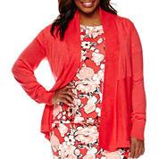 Liz Claiborne® Long-Sleeve Open Front Cardigan - Plus