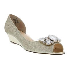 I. Miller Rhoda Glitter Open-Toe Demi-Wedge Pumps