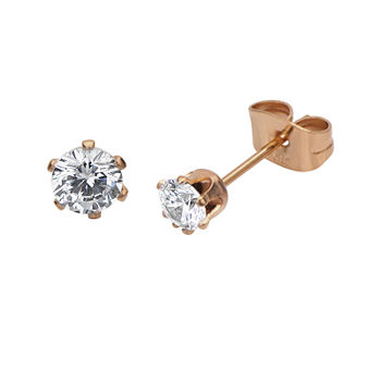 Cubic Zirconia 4mm Stainless Steel And Rose tone Ip Stud Earrings