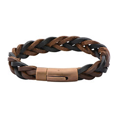 Mens Brown and Black Braided Leather Bracelet