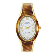 Geneva Womens Tortoise and Gold-Tone Oval Bangle Watch