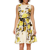 Danny & Nicole® Sleeveless Belted Floral Fit-and-Flare Dress - Petite