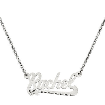 Personalized 15x33mm Diamond cut Scroll Name Necklace