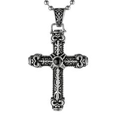 Mens Black Agate Two-Tone Stainless Steel Cross Pendant Necklace