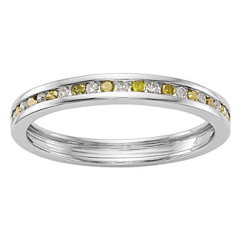 Womens 25mm 14 Ct Tw Genuine Multi Color Diamond 14k White Gold Round Wedding Band