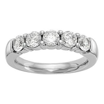 Womens 3mm 1 Ct Tw Genuine White Diamond 14k White Gold Round Wedding Band