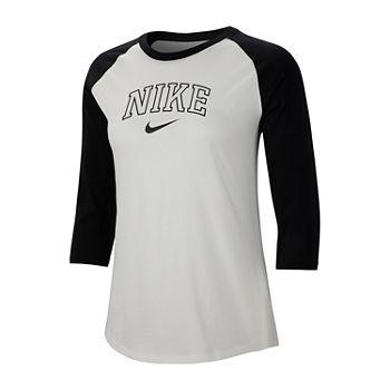 Nike Varsity Raglan Tee womens Crew Neck 34 Sleeve T shirt