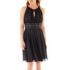 La Nouvelle Renaissance Sleeveless Keyhole Beaded-Waist Dress