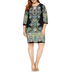 Tiana B 3/4 Sleeve Keyhole Knit Sheath Dress-Plus