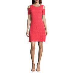 Ronni Nicole Short Sleeve Lace A-Line Dress-Petites