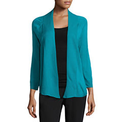 Worthington 3/4 Sleeve Cardigan-Petites