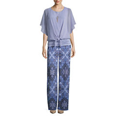 Alyx Tie Front Popover Top or Pull On Palazzo Pants