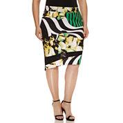 Bisou Bisou Mesh Insert Asymmetrical Skirt-Plus