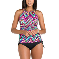 Jamaica Bay® Downtown Vibe Highneck Tankini Swim Top with Cut Outs