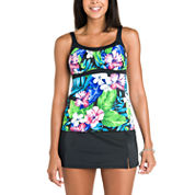Jamaica Bay® Vintage Floral Framed Peasant Tankini or Shaping Tricot Swim Skirt