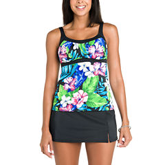 Jamaica Bay® Vintage Floral Framed Peasant Tankini Swim Top