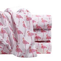 By The Seashore Microfiber Flamingos Watercolor Sheet Set
