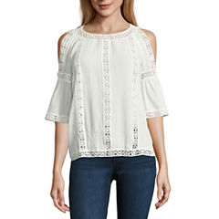 i jeans by Buffalo Lace Trim Cold Shoulder Top