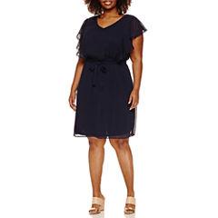 Alyx Short Ruffle Sleeve Tie Waist Fit & Flare Dress-Plus