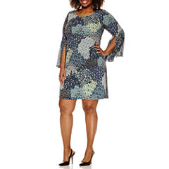 Msk 3/4 Bell Sleeve Sheath Dress-Plus