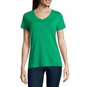 St. John`s Bay Short Sleeve V Neck T-Shirt-Talls