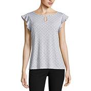 Worthington Short Sleeve Keyhole Neck T-Shirt