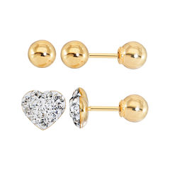 Infinite Gold™ Kids Crystal Heart 14K Yellow Gold 2-pr. Stud Earring Set