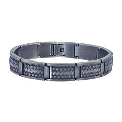 Mens Grey Stainless Steel Chain Bracelet