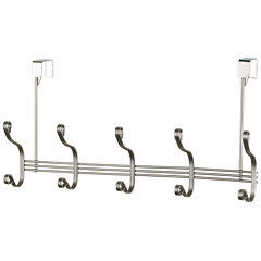 Home Basics Over-the-Door 5-Hook Satin Nickel Hanging Rack