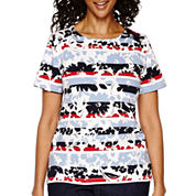 Alfred Dunner® All Aboard Short-Sleeve Flower Print Top