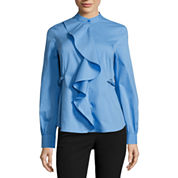 Worthington Long Sleeve Y Neck Woven Blouse