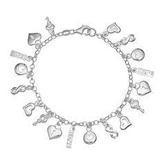 Sterling Silver Love Charm Bracelet
