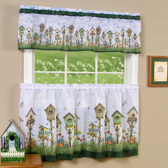 Home Sweet Home Print Rod-Pocket Window Tier and Valance Set