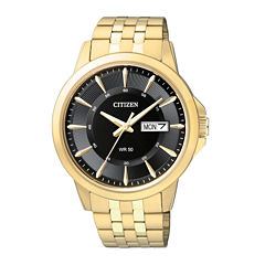 Citizen® Everyday Mens Black Dial Gold-Tone Stainless Steel Watch BF2013-56E