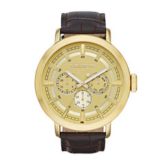 Claiborne® Mens Brown Leather Strap Watch