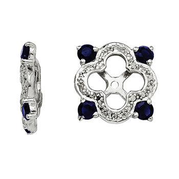 Diamond Accent Amp Lab created Blue Sapphire Sterling Silver Earring Jackets