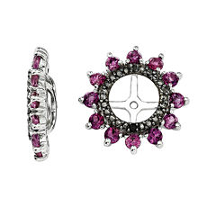 Genuine Rhodolite Garnet and Black Sapphire Sterling Silver Earring Jackets