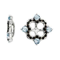 Genuine Aquamarine & Black Sapphire Sterling Silver Earring Jackets