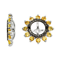 Genuine Citrine and Black Sapphire Sterling Silver Earring Jackets